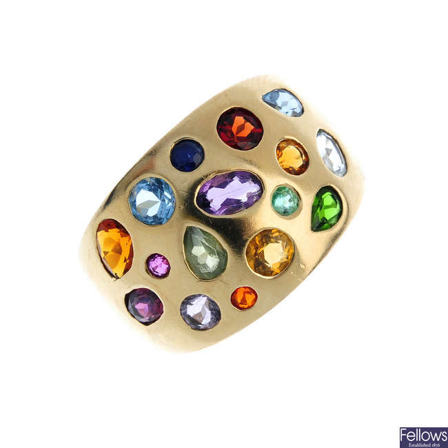 A 9ct gold and gem-set ring.