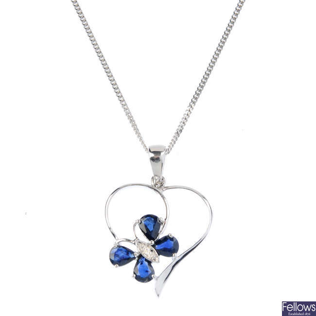 A 9ct gold sapphire and diamond butterfly pendant, with chain.