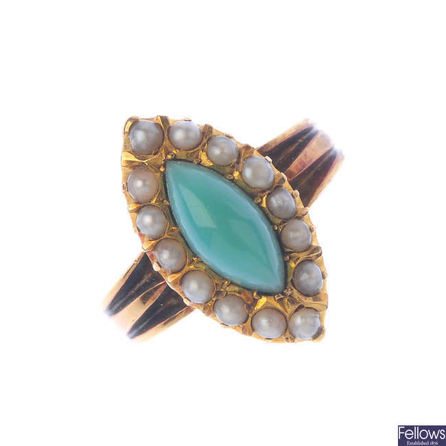 A late Victorian 18ct gold turquoise and pearl ring.