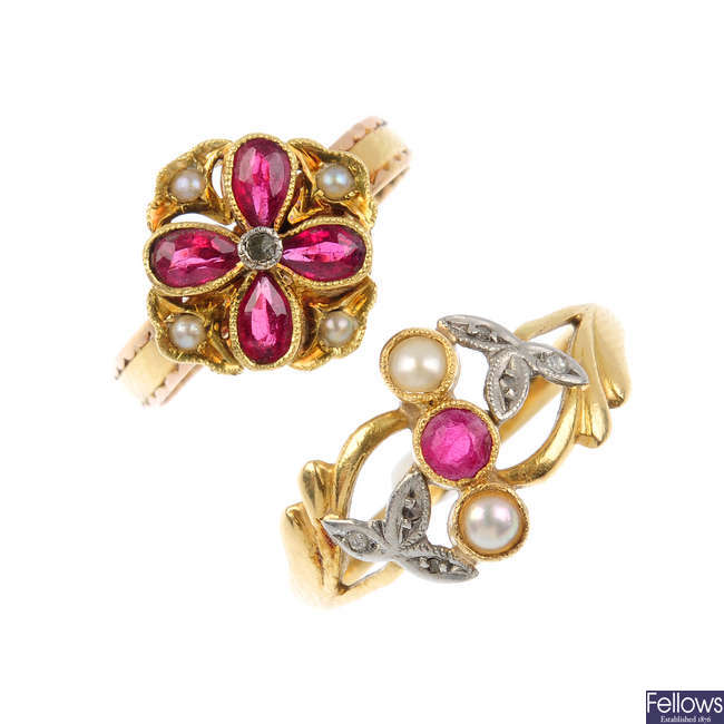 Two early 20th century gem-set dress rings.