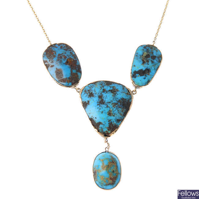 A turquoise necklace.