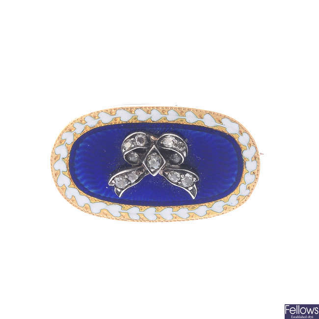 An early Victorian gold, diamond and enamel brooch.