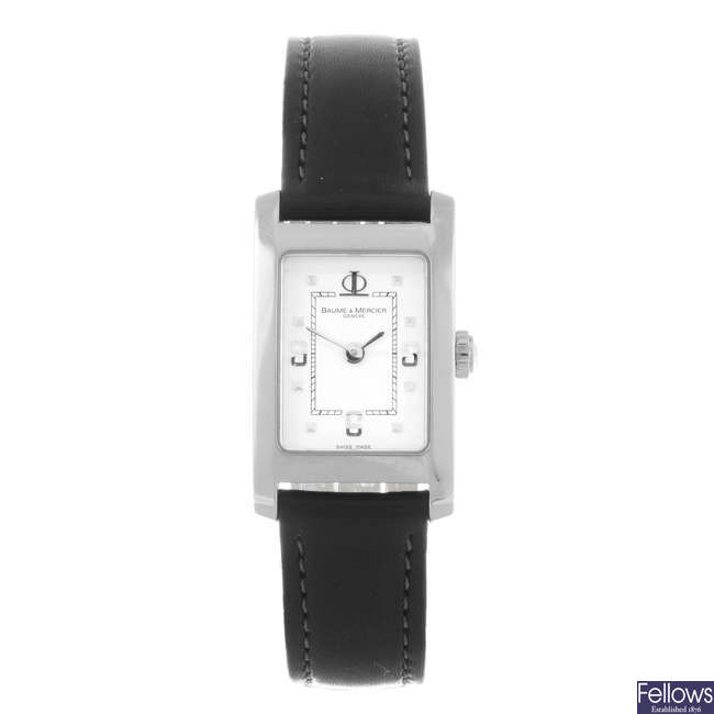 BAUME & MERCIER - a lady's stainless steel Hampton wrist watch.
