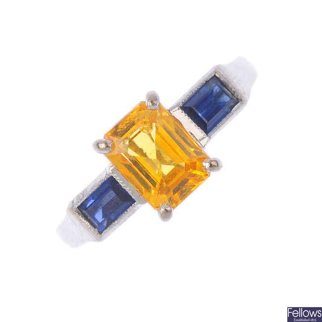 An 18ct gold sapphire three-stone ring.