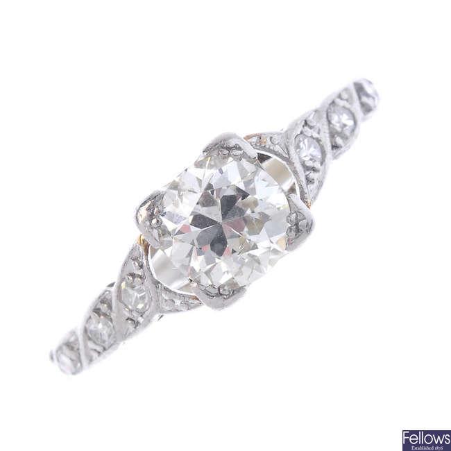 An early 20th century diamond single-stone ring.