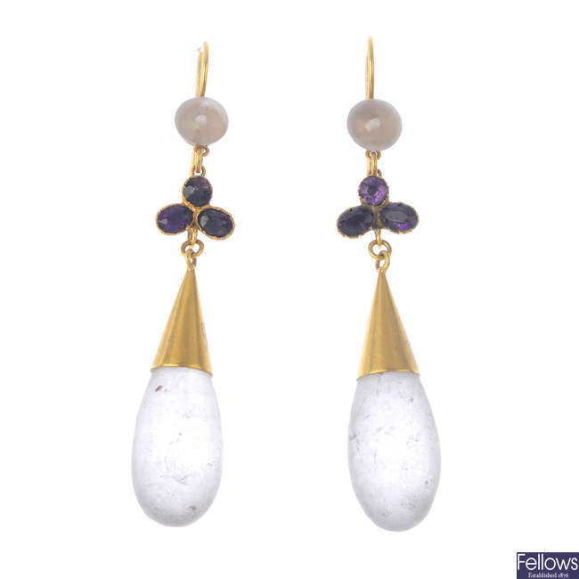 A pair of amethyst and rock crystal earrings.