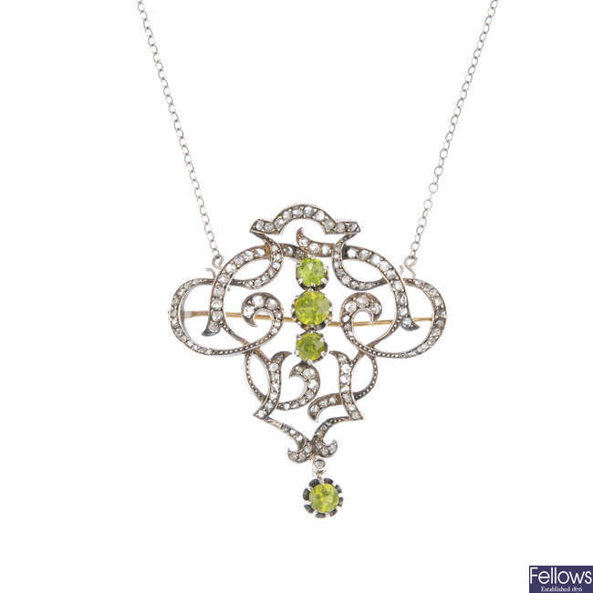 A late Victorian peridot and diamond pendant, with detachable chain.