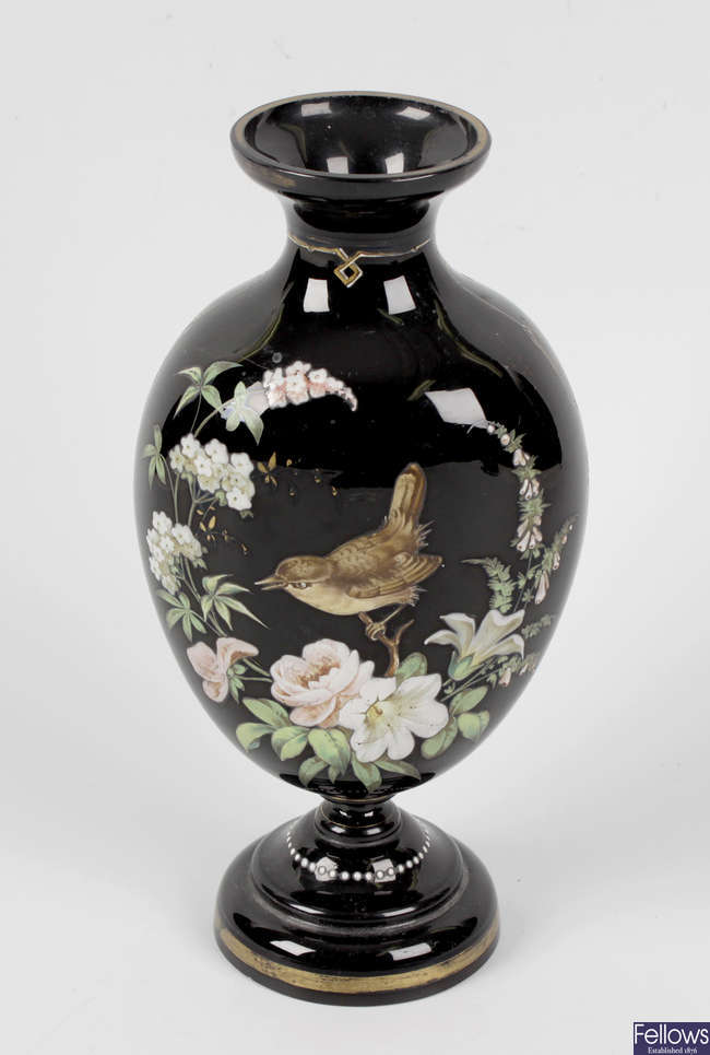 A late 19th century enamelled glass vase