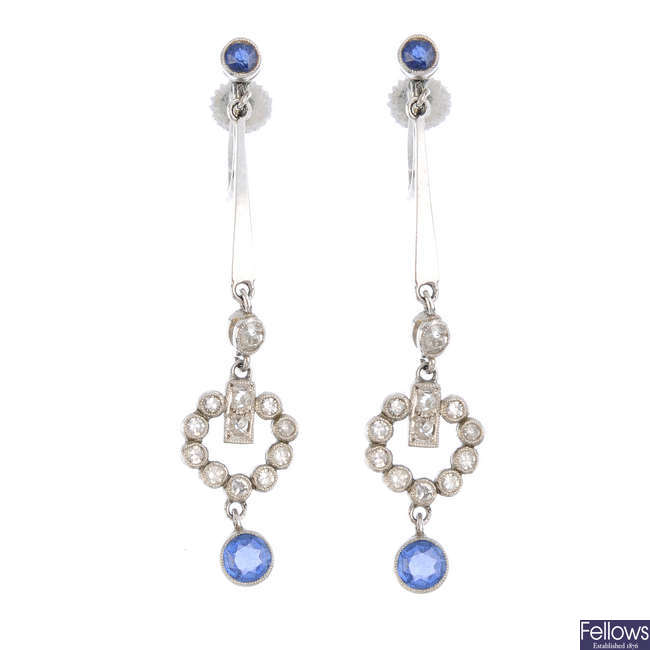 A pair of mid 20th century sapphire and diamond earrings
