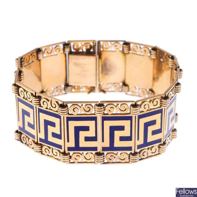 An enamel bracelet.