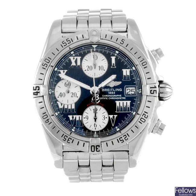 BREITLING - a gentleman's stainless steel Chrono Cockpit chronograph bracelet watch.