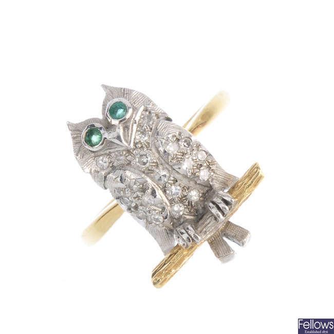 A diamond owl ring.