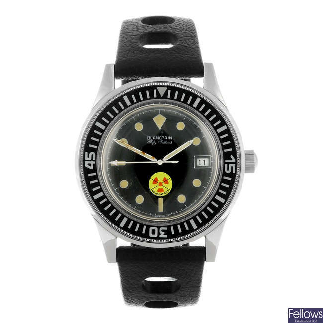BLANCPAIN - a gentleman's stainless steel Polish Naval issue Fifty Fathoms wrist watch.