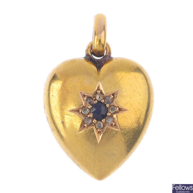 A late Victorian 15ct gold sapphire and diamond heart pendant.
