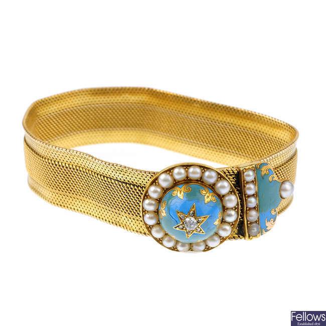 A mid Victorian gold, diamond, split pearl and enamel bracelet, circa 1860.