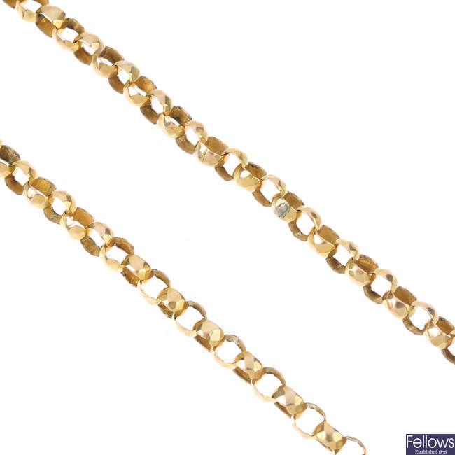 A late Victorian gold longuard chain, circa 1880.
