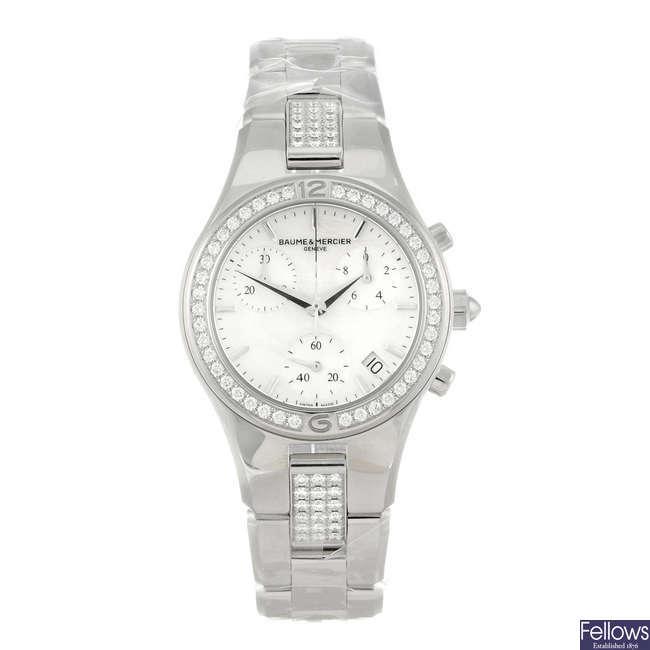 BAUME & MERCIER - a lady's stainless steel Linea chronograph bracelet watch.