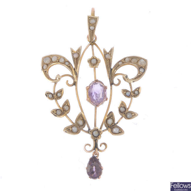 An Edwardian 9ct gold amethyst and seed pearl pendant.