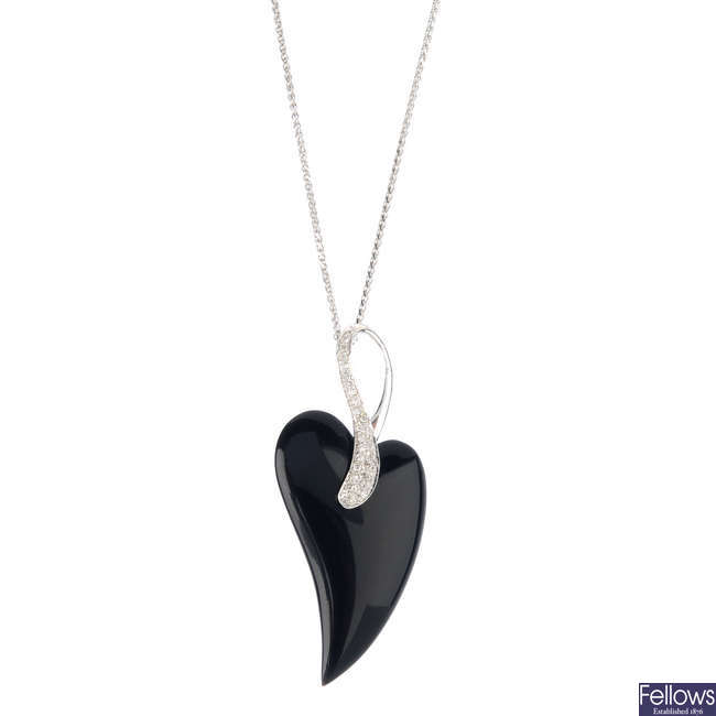 A 9ct gold onyx and diamond pendant, with chain.