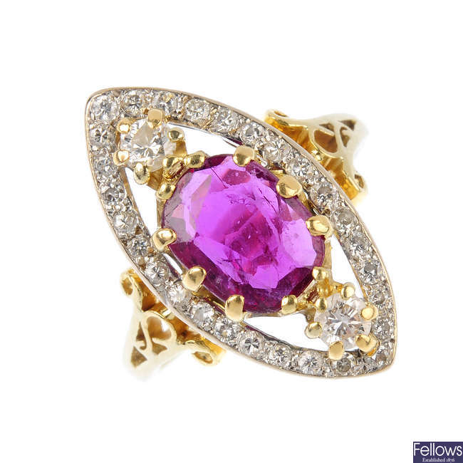 An 18ct gold ruby and diamond ring.