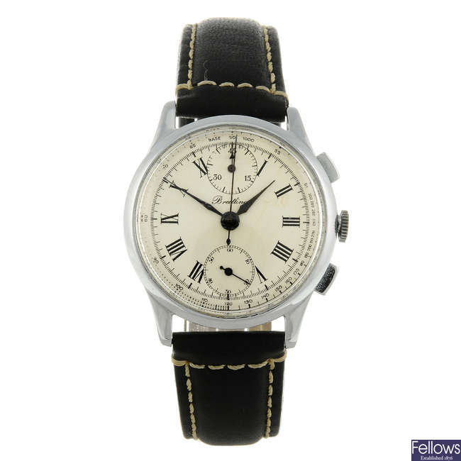 BREITLING - a mid-size stainless steel chronograph wrist watch.