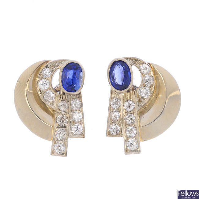 A pair of mid 20th century synthetic sapphire and diamond earrings.
