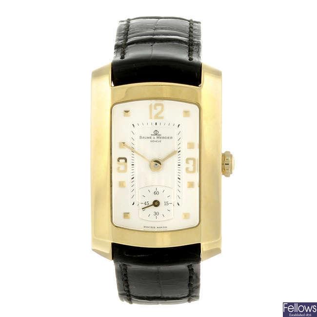 BAUME & MERCIER - a lady's 18ct yellow gold Hampton wrist watch.