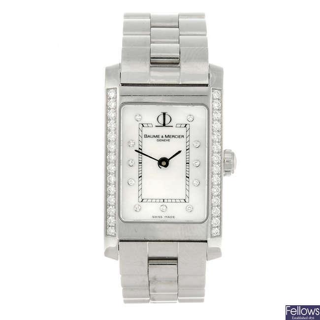 BAUME & MERCIER - a lady's stainless steel Hampton bracelet watch.