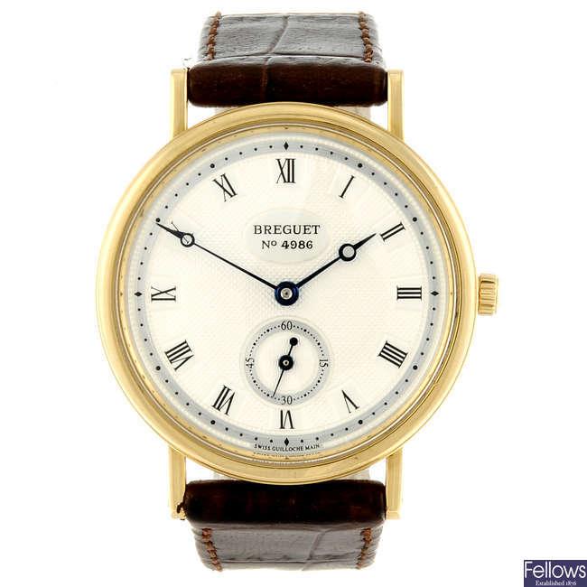 BREGUET - a gentleman's 18ct yellow gold wrist watch.