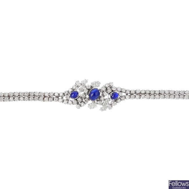 A 14ct gold sapphire and diamond bracelet.