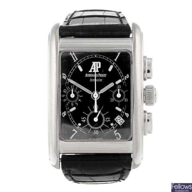 AUDEMARS PIGUET - a gentleman's 18ct white gold Edward Piguet chronograph wrist watch.