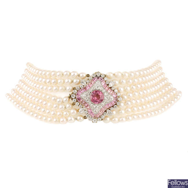 A cultured pearl seven-row necklace, with diamond and tourmaline clasp.