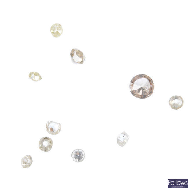 A selection of diamonds, total weight 1.72cts.