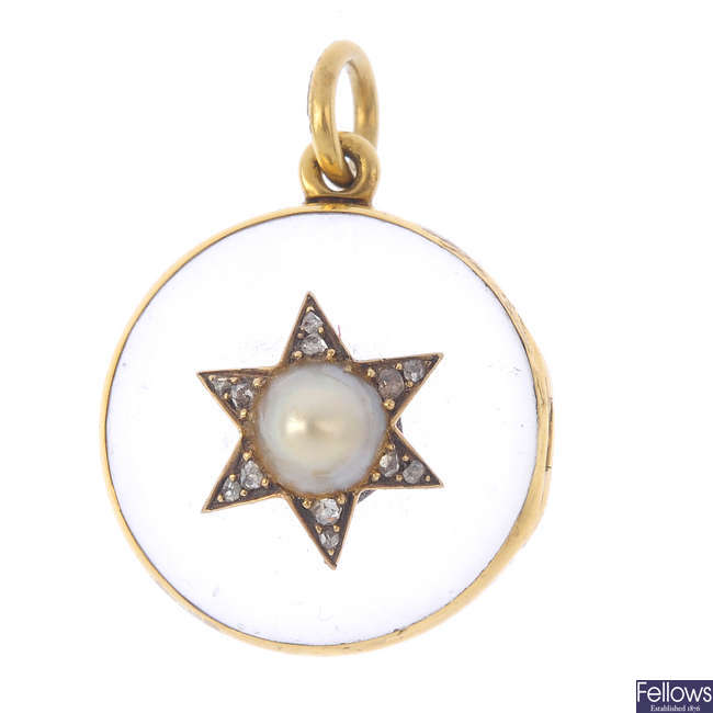 A mid Victorian gold, rock crystal and gem-set locket.