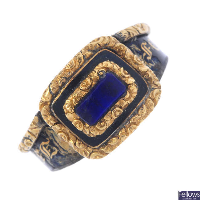 A late Georgian gold enamel mourning ring.