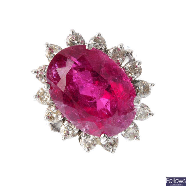 A tourmaline and diamond cluster ring.