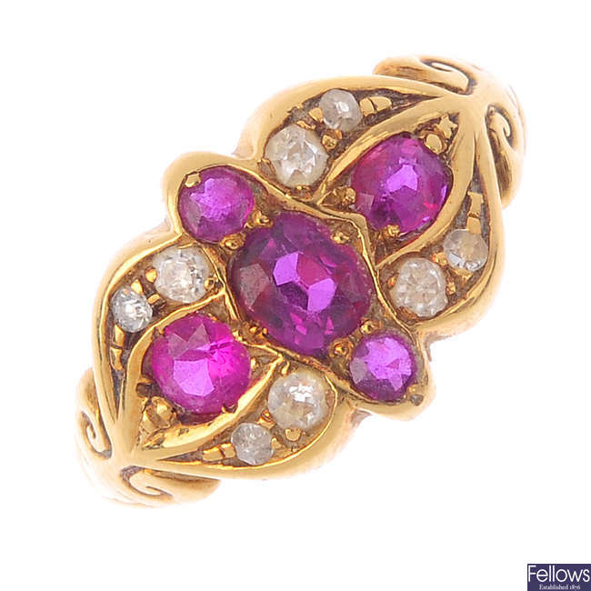 An early 20th century 18ct gold, ruby and diamond ring.