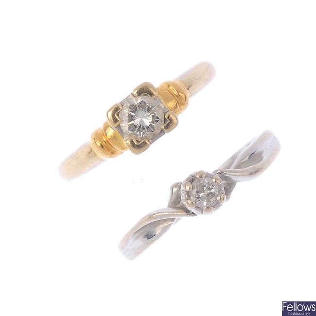 Two diamond single-stone rings.