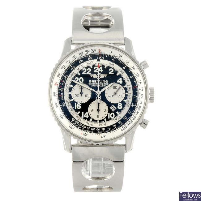 BREITLING - a limited edition gentleman's stainless steel Cosmonaute chronograph bracelet watch.