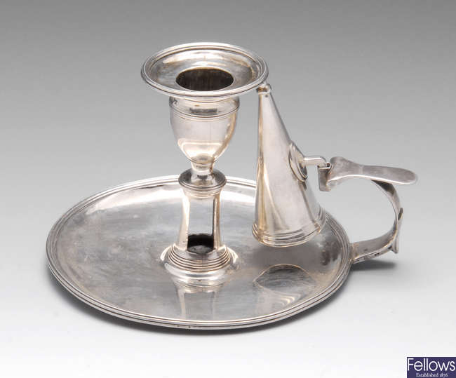 A George III silver chamberstick.