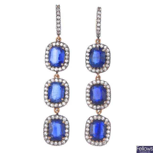 A pair of kyanite and gem-set earrings.