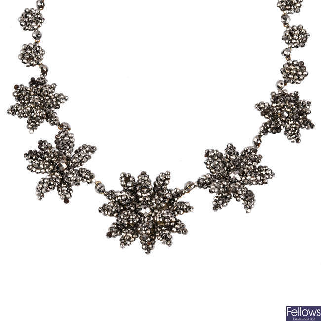 An early 19th century cut steel necklace.