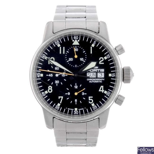 FORTIS - a gentleman's stainless steel Flieger chronograph bracelet watch.
