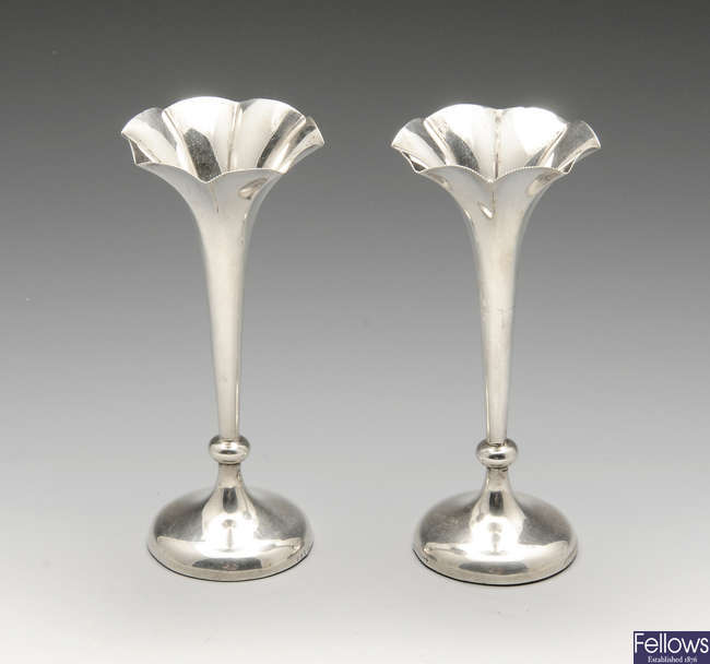 A pair of late Victorian silver bud vases.