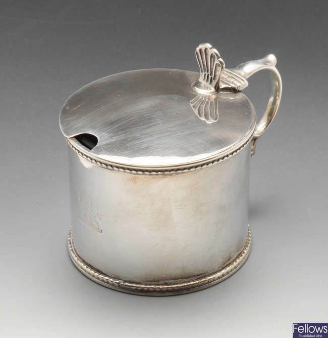 An early Victorian silver drum shaped mustard pot.