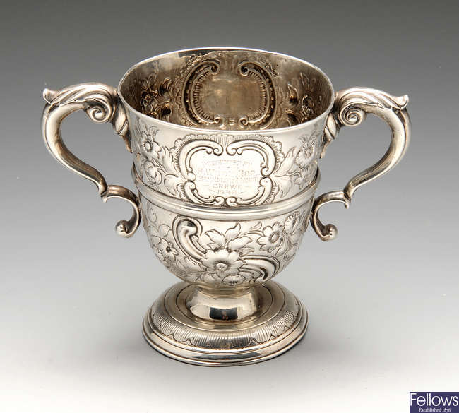 A mid-eighteenth century Irish silver twin-handled cup.