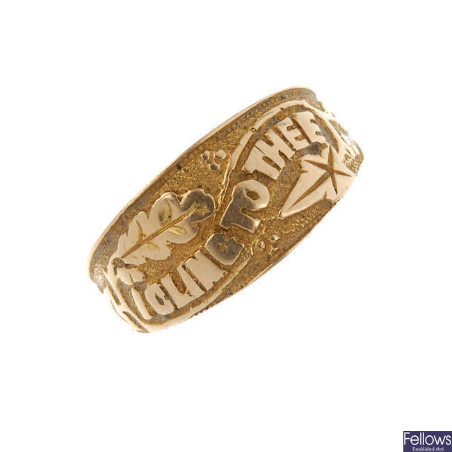 A late Victorian gold memorial ring.