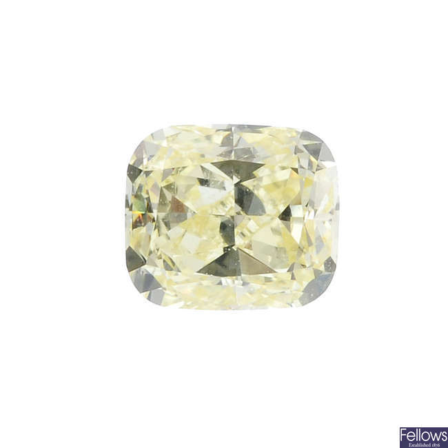 A square-shape 'yellow' diamond, weighing 0.60ct.