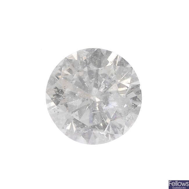 A brilliant-cut diamond, weighing 0.48ct.
