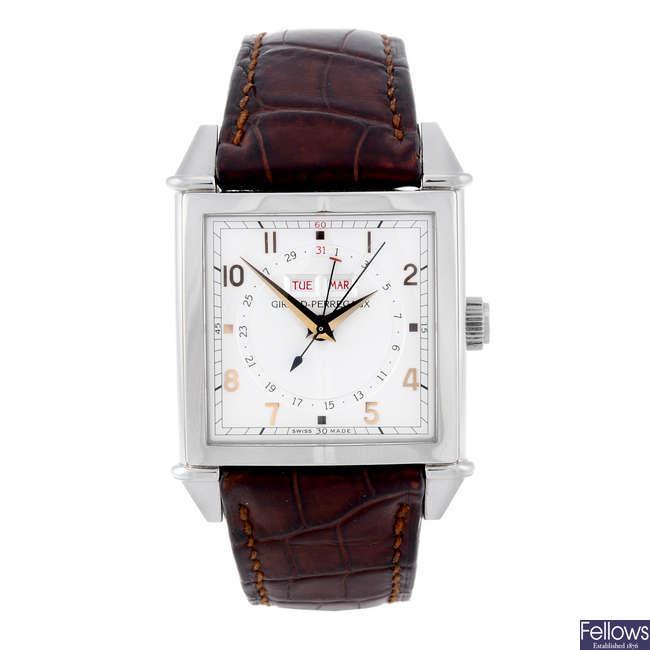 GIRARD-PERREGAUX - a gentleman's stainless steel 1945 Triple Calendar wrist watch.